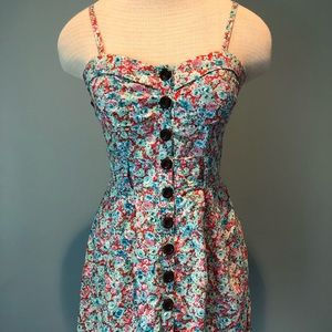 Deb red and blue floral pin-up style dress